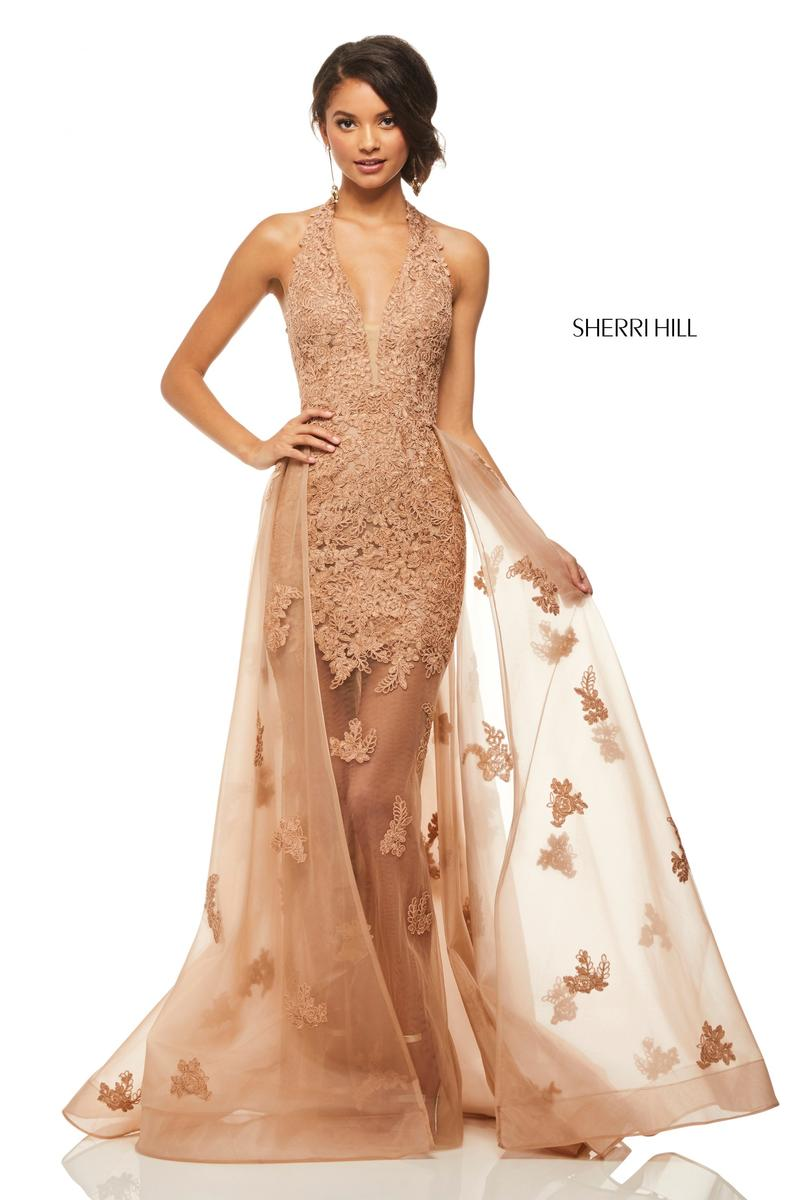sherri hill 52819 sheer applique gown with overskirt  french novelty