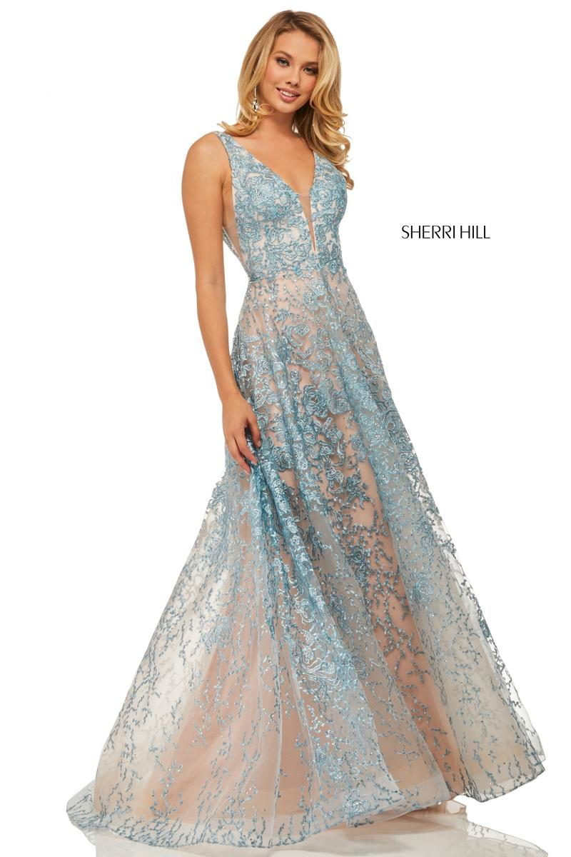 Sherri Hill 52877 Sheer Embellished Prom Dress French Novelty