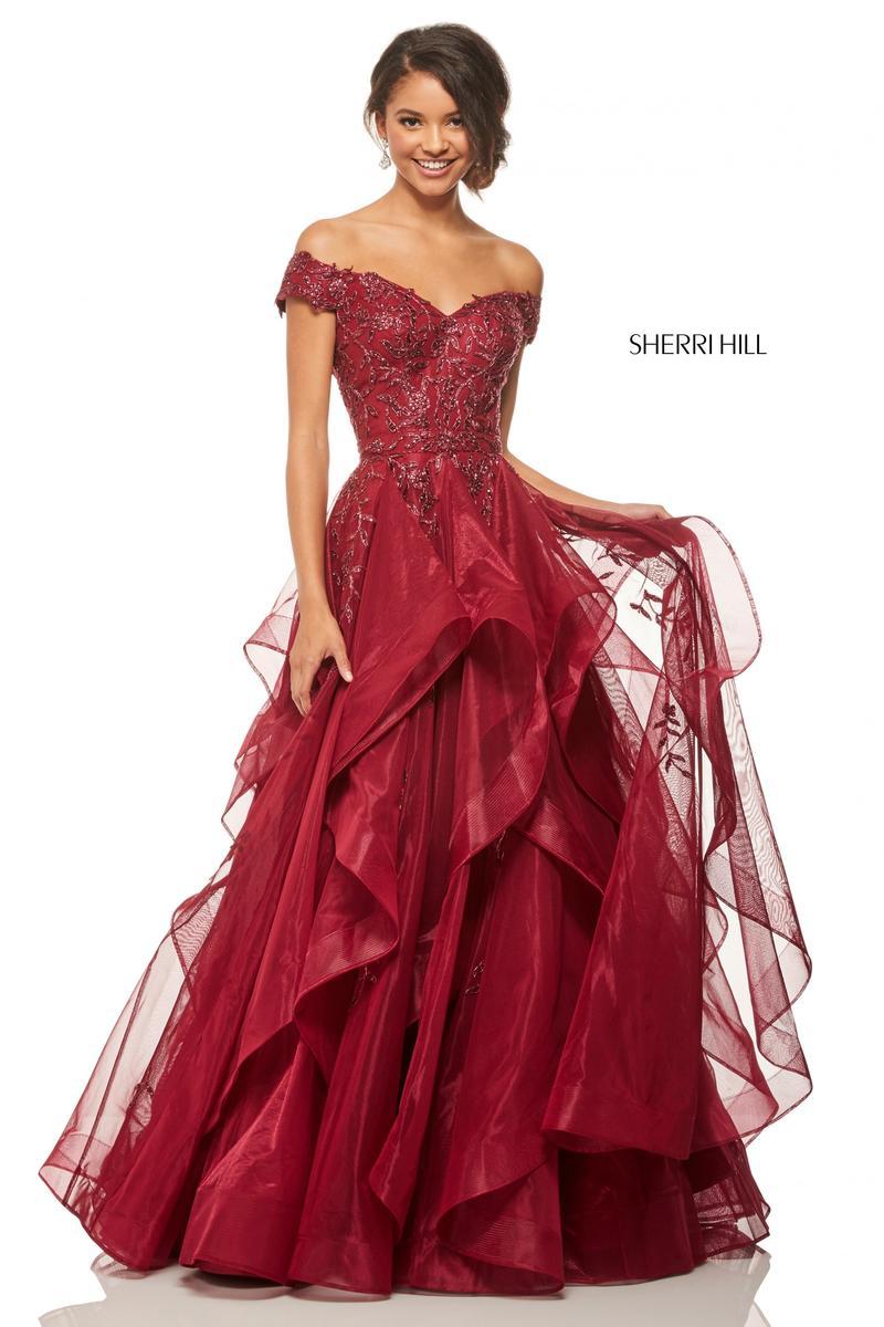Sherri Hill 52880 Off Shoulder Ruffled Prom Dress French