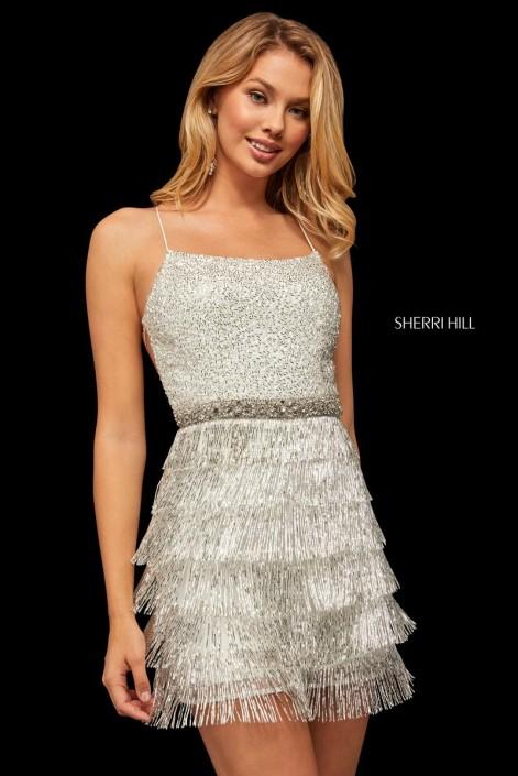 44dc9748750 Sherri Hill 52935 Short Beaded Fringe Prom Dress  French Novelty