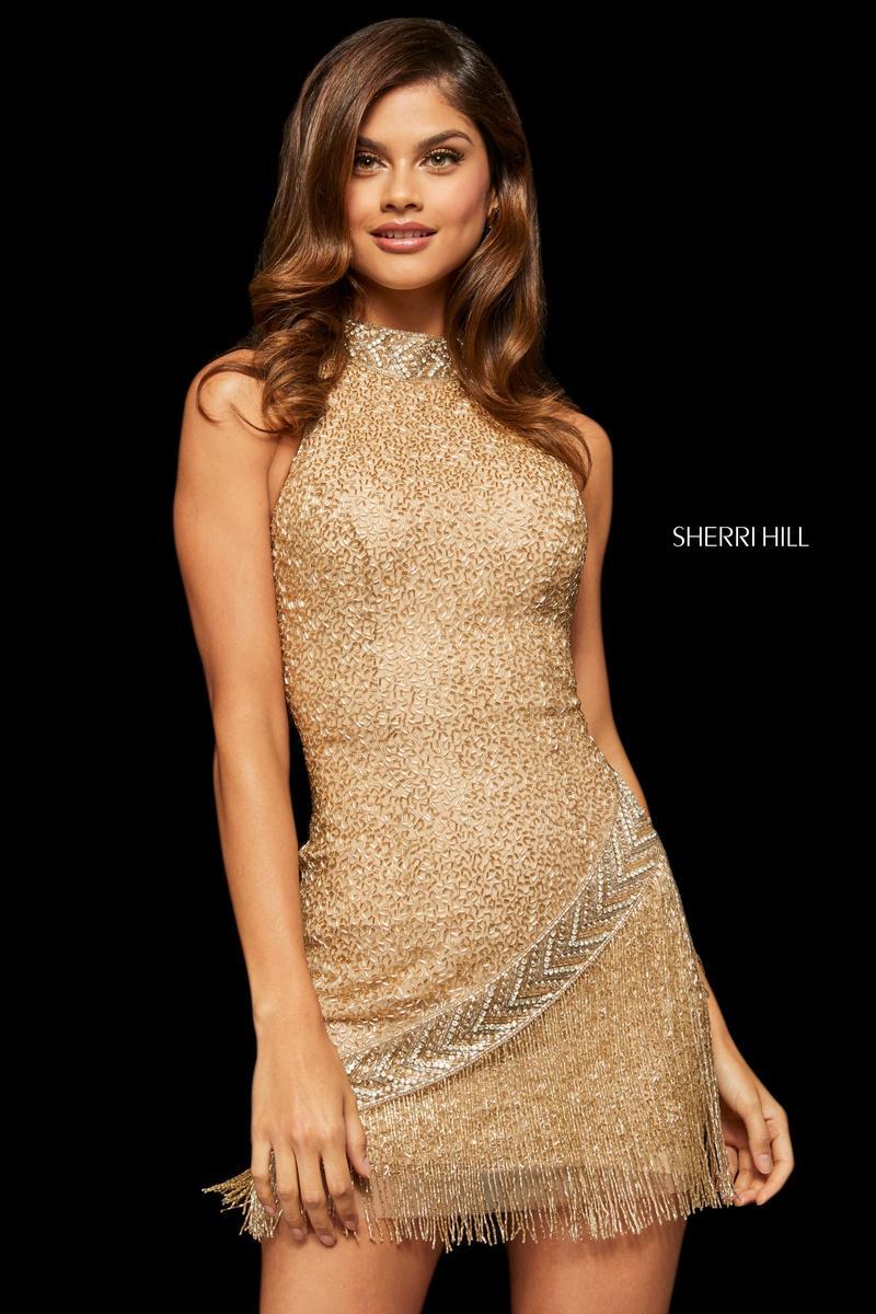 bde768255e4 Sherri Hill 52940 Short Beaded Prom Dress with Fringe  French Novelty