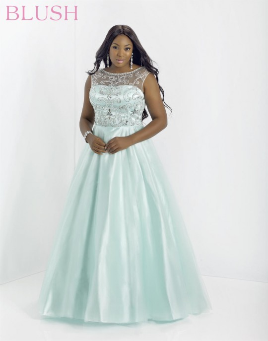 Blush W 5335W Plus Size Illusion Formal Dress: French Novelty