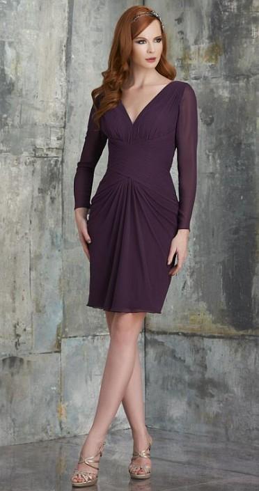 206c08cbce Bari Jay 535 Long Sleeve V Neck Short Chiffon Bridesmaid Dress: French  Novelty