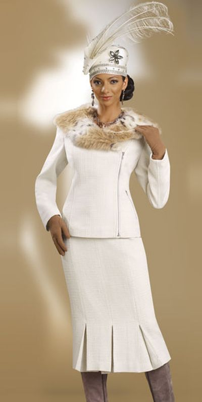Donna Vinci Couture 5372 Womens Ivory Church Suit With