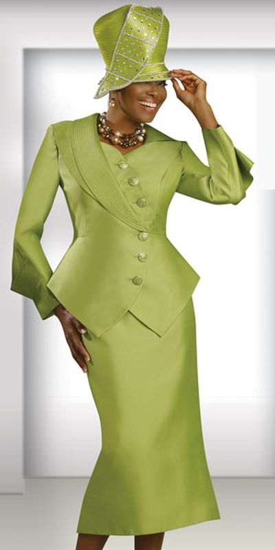 Donna Vinci Couture 5379 Womens Lime Church Suit French Novelty
