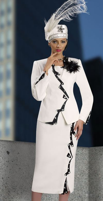 Donna Vinci Couture 5388 Womens Off White and Black Church