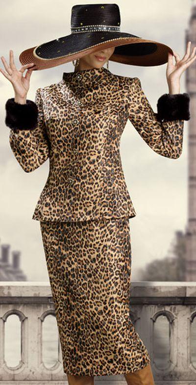 Donna Vinci Couture 5391 Womens Animal Print Church Suit