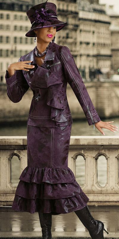 Donna Vinci Couture 5397 Womens Purple Faux Leather Church