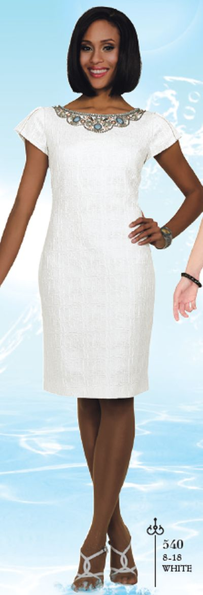 Chancelle 540 White Church Dress: French Novelty