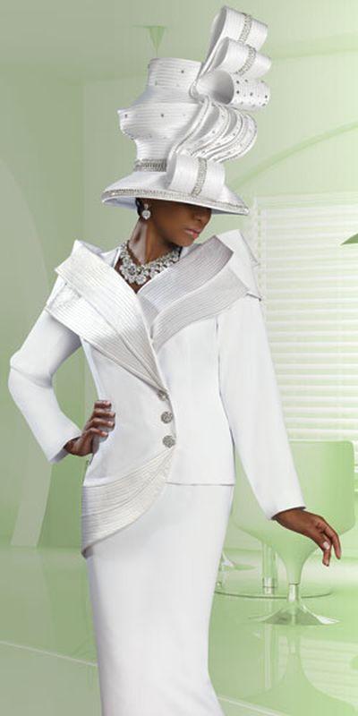 Donna Vinci Couture 5422 Womens Pure White Church Suit