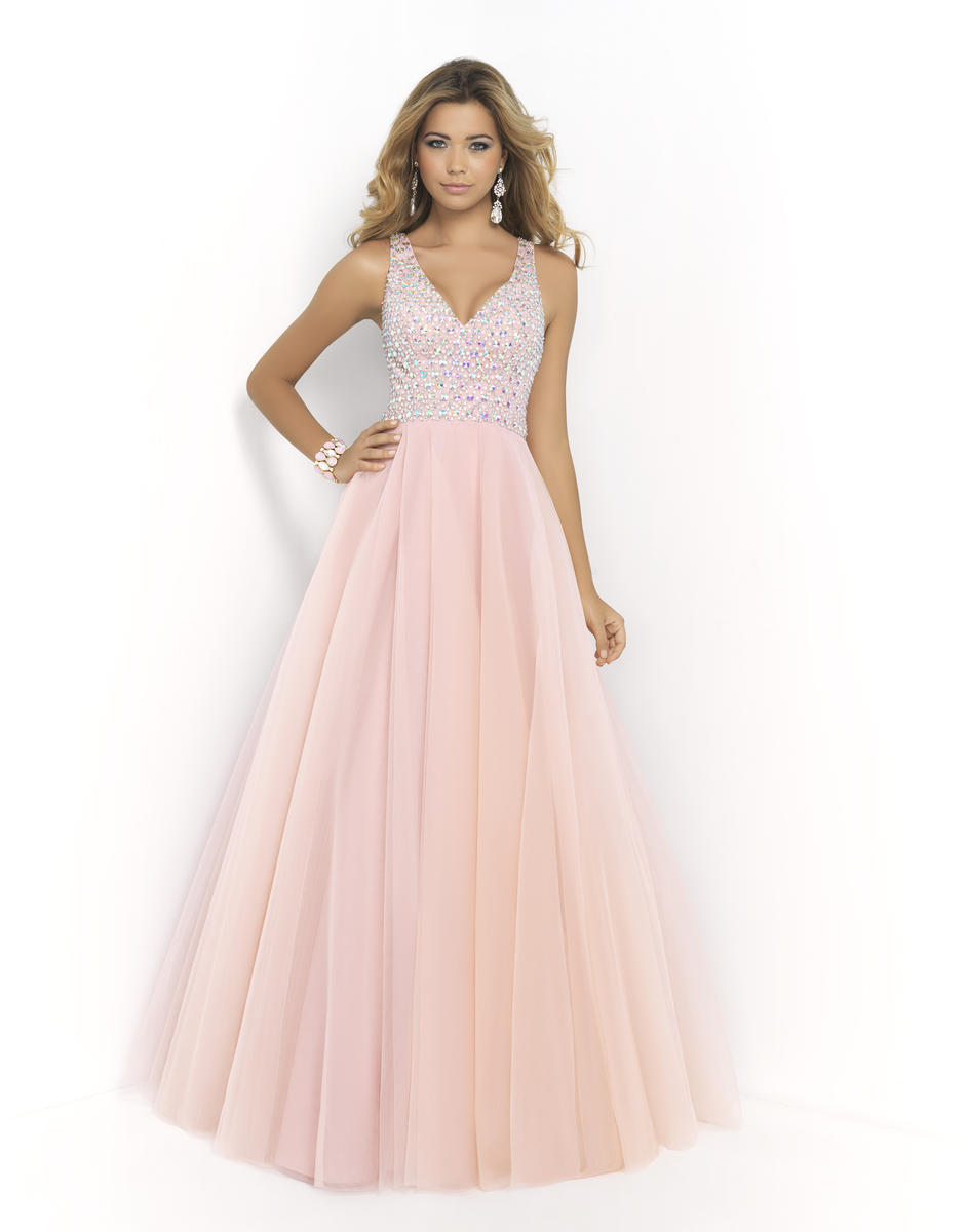 Pink by Blush 5427 V Neck Ball Gown: French Novelty