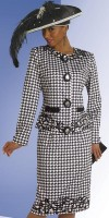 Size 14 White-Black Donna Vinci Couture 5451 Womens Church Suit image