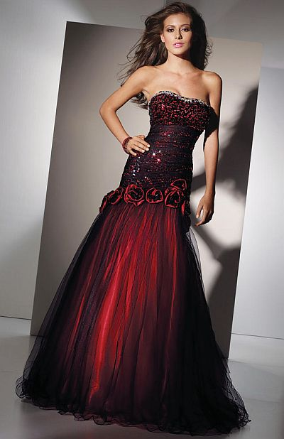 Alyce Paris Black Label Red And Black Sequin Tulle Gown 5456 French