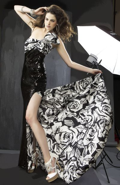 Cassandra Stone Black and White Rose Print Prom Dress 5490A ...