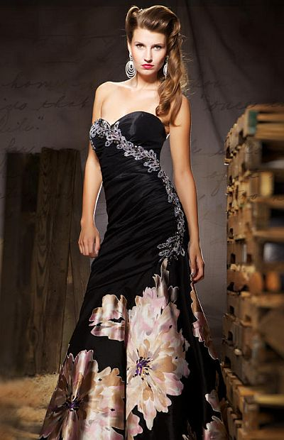MacDuggal Couture Bold Floral Print Evening Dress 5495D: French ...