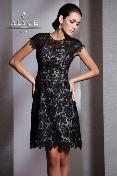 Alyce Black Label 5505 Sophisticated Cap Sleeve Lace Cocktail ...