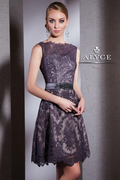Alyce Black Label 5507 Short Lace Cocktail Dress with Open Back ...