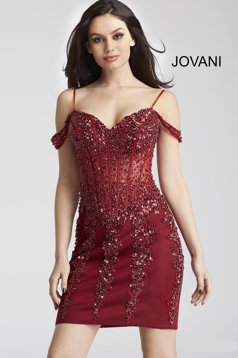 Jovani 55226 Off Shoulder Sheer Beaded Cocktail Dress ...- photo #50