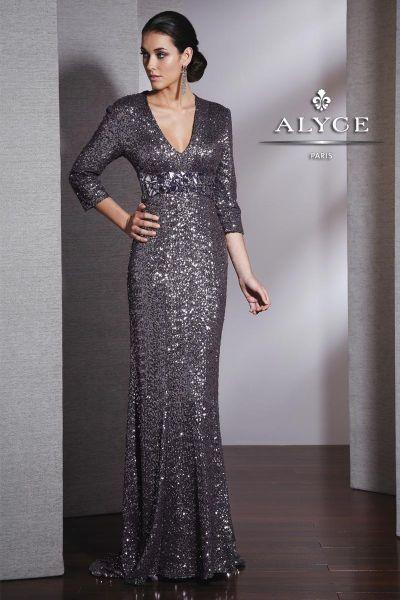 Alyce Black Label 5523 Sequin V Neck Long Sleeve Dress For Wedding
