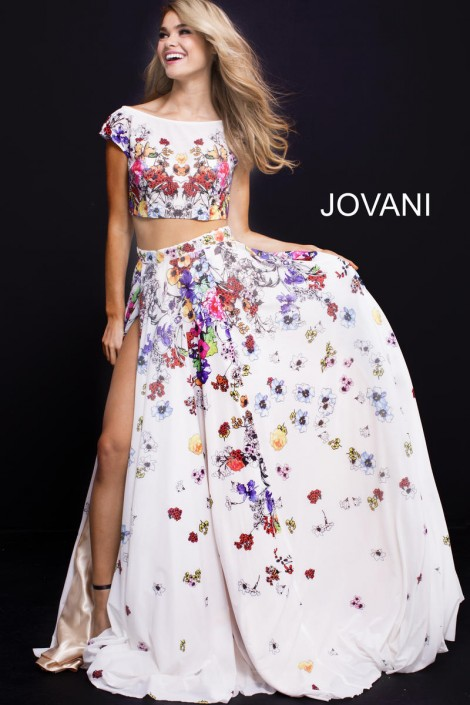 eb3ec834f994 Jovani 55272 Colorful Flowers 2 Piece Gown French Novelty