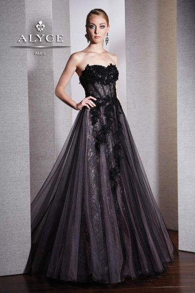 Alyce Black Label 5529 Ball Gown with Lace Applique: French Novelty