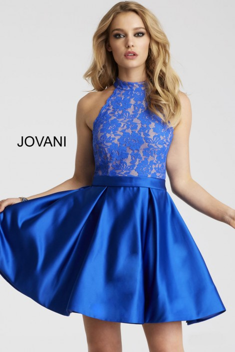 eeb3c79185 Jovani 55300 High Neck Lace Homecoming Dress  French Novelty