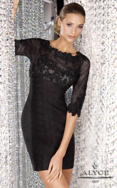 Alyce Black Label 5536 Banded Lace Cocktail Dress: French Novelty