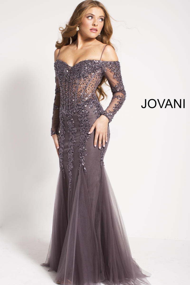 Jovani 55522 Off Shoulder Long Sleeve Mermaid Gown French