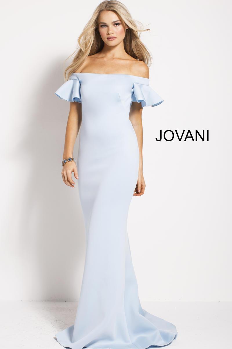 Jovani 55563 Off Shoulder Flutter Sleeve Scuba Gown