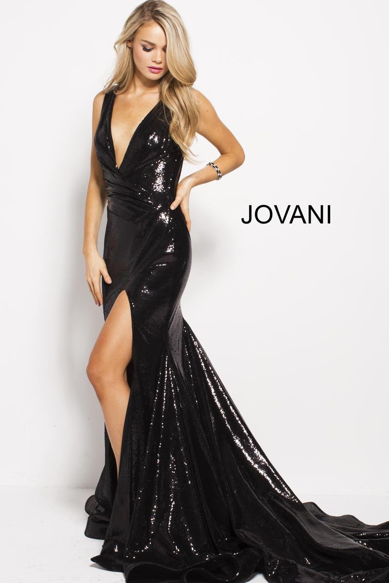 Jovani 55606 Plunging V Sequin High Slit Gown French Novelty