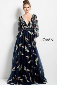 11e25b0a394 Jovani 55717 Long Sleeve Plunging V Bird Print Gown
