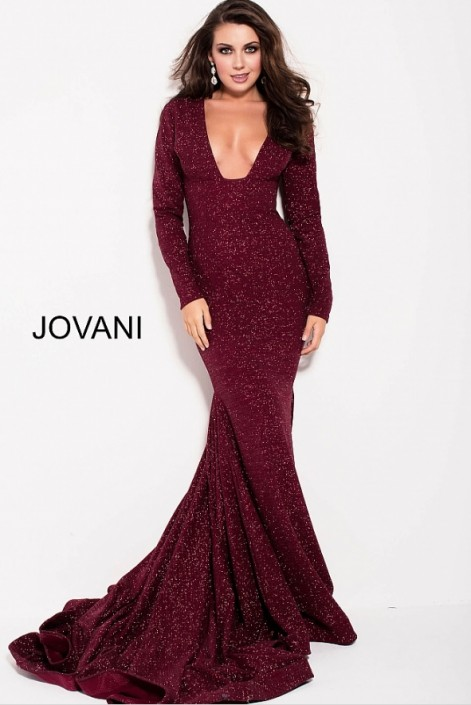 05b8e0087e58 Jovani 55791 Long Sleeve Plunging Glitter Gown: French Novelty