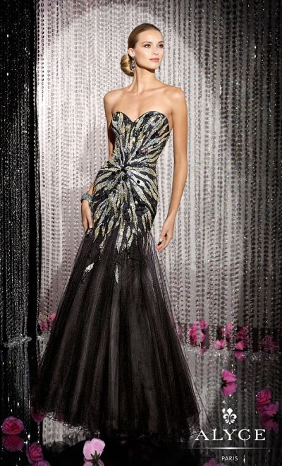 Alyce 5586 Black Label Sequin Zebra Formal Dress French Novelty