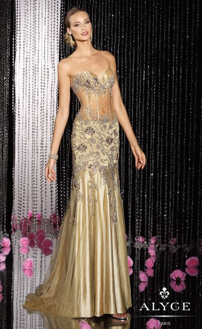 Alyce 5600 Black Label Sheer Corset Evening Dress: French Novelty