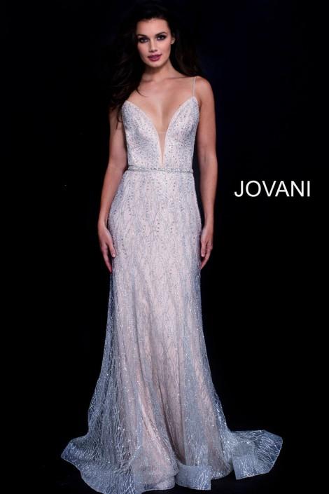 Jovani 56050 Sheer Embellished Gown: French Novelty
