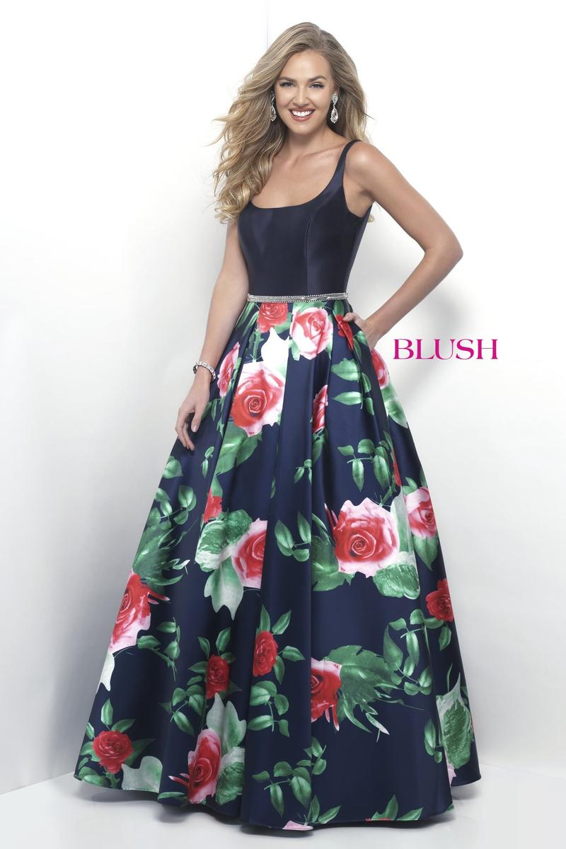 pink by blush 5627 floral print prom gown  french novelty
