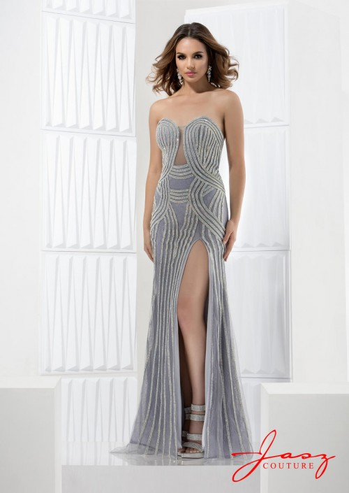 Jasz Couture 5630 Gown with Sheer Beading: French Novelty