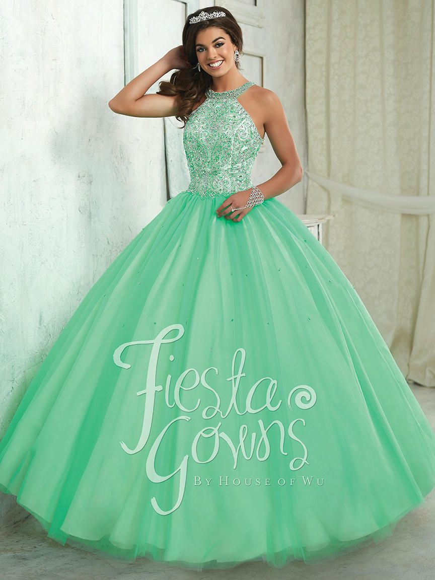 House Of Wu Fiesta 56316 Beaded Halter Quince Dress