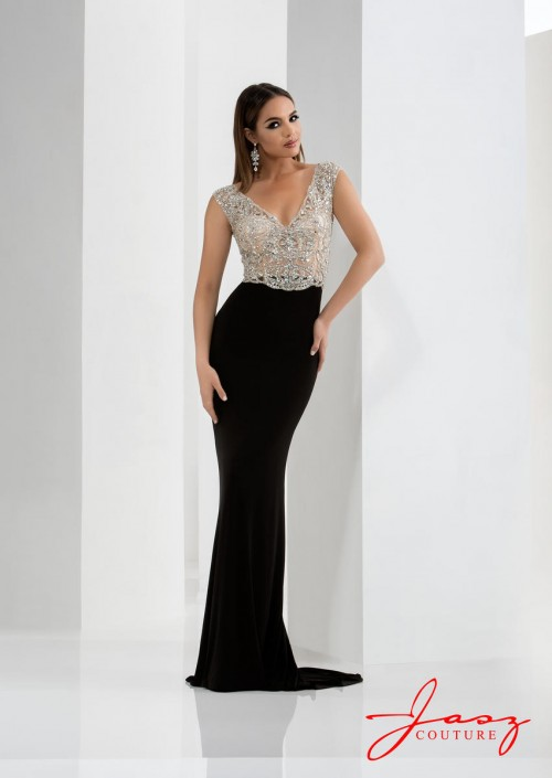 Jasz Couture 5634 V Neck Prom Gown: French Novelty