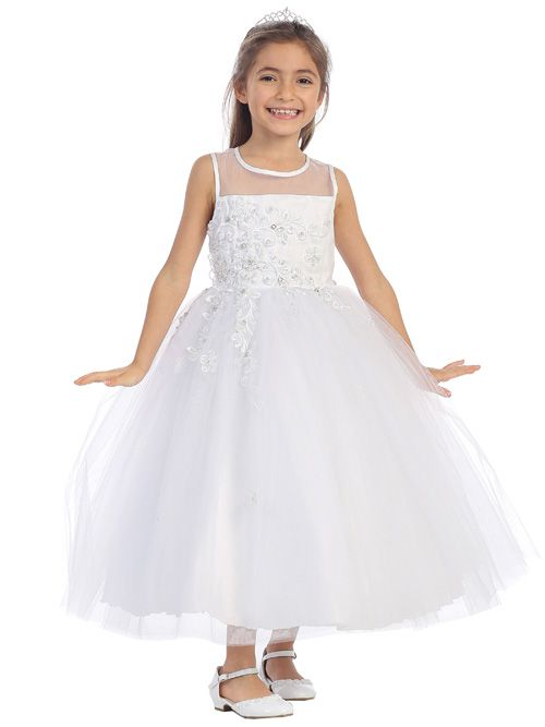 Tip Top 5644 Flower Girls Dress with Illusion: French Novelty