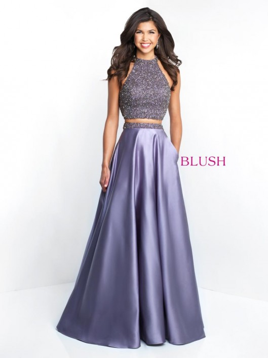 Pink by Blush 5651 High Neck 2 Piece Prom Gown  French Novelty 1569b6d2b