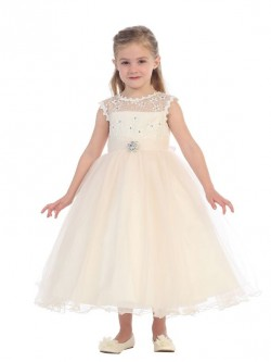 1f320bc06b6 Tip Top 5651 Flower Girls Dress with Illusion