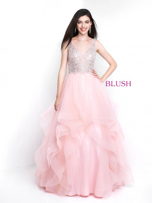 8047471f951e Pink by Blush 5653 Beaded Ruffle Prom Gown: French Novelty