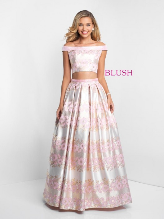 Pink By Blush 5657 Floral Jacquard 2 Piece Prom Gown French Novelty
