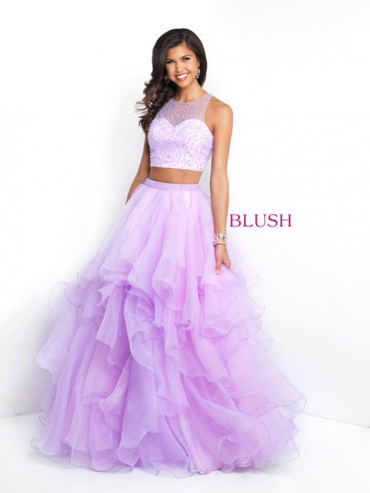 Pink By Blush 5664 Ruffle 2 Piece Prom Gown French Novelty