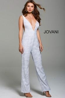 bc48c0ed775 Jovani 56892 Plunging V Neck Glitter Prom Jumpsuit