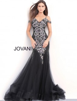 73ab43a9a3d Jovani 56898 Off Shoulder Beaded Mermaid Prom Gown