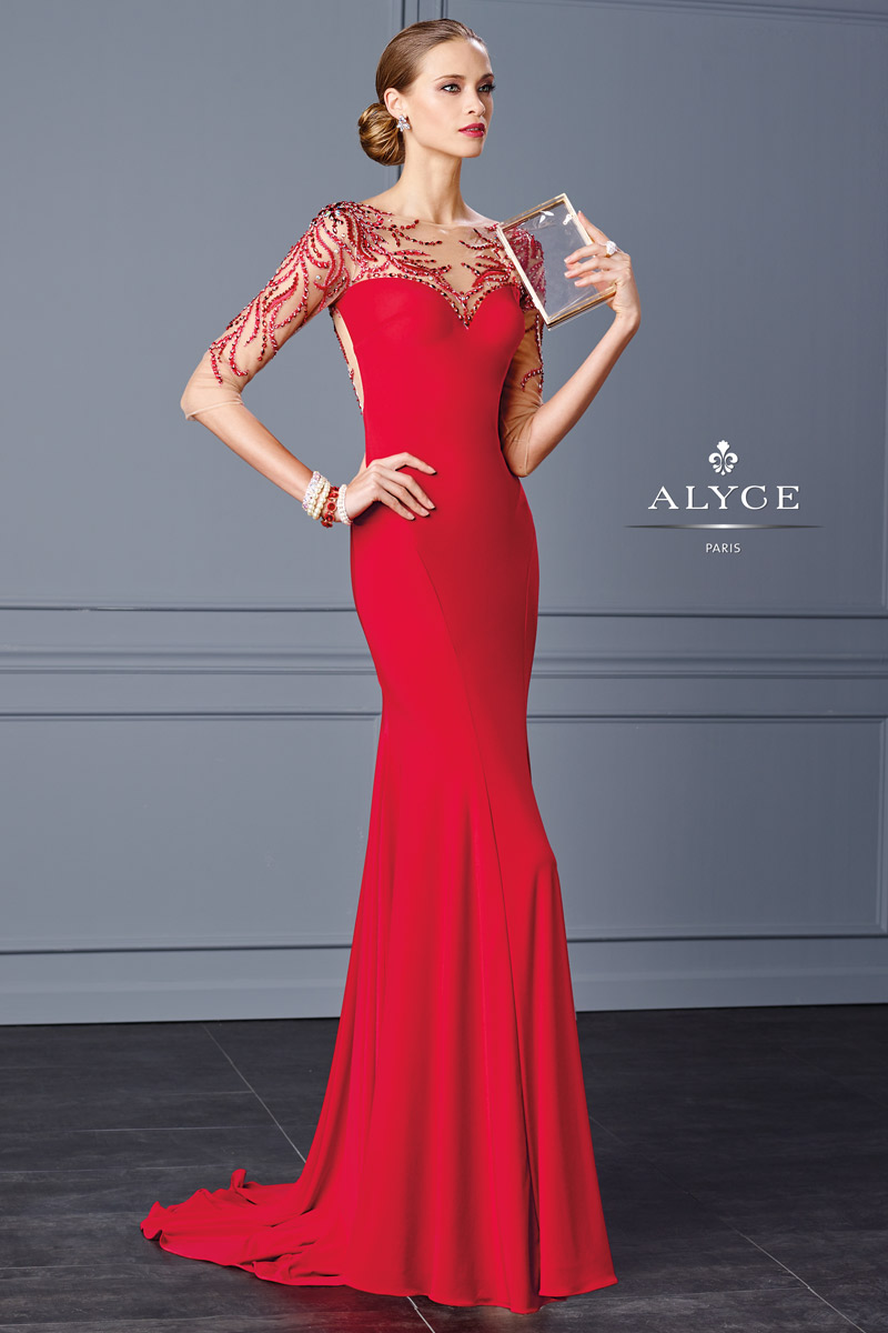 Alyce Black Label 5705 Slim Jersey Gown French Novelty