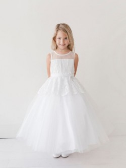 d69763c6821 Tip Top 5706 Long Flower Girls Dress with Lace