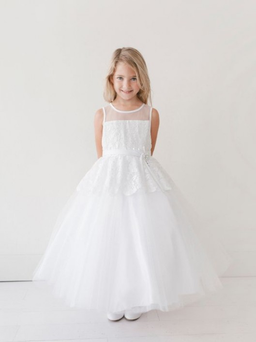 d9281250e1f Tip Top 5706 Long Flower Girls Dress with Lace  French Novelty